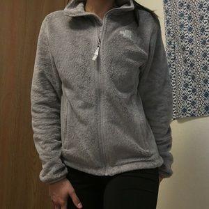 Gray, Fuzzy North Face Jacket